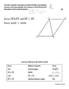 Triangle Proofs Quiz (4 total: two versions with or without CPCTC)