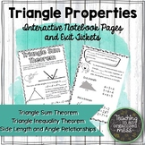 Triangle Properties Math Notebook-Triangle Angle Sum-Triangle Inequality Theorem