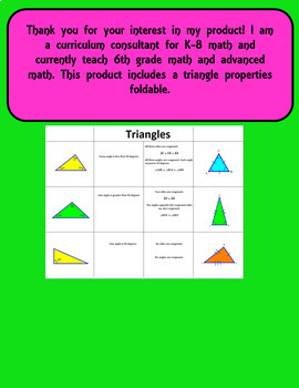 Triangle Property Foldable for interactive notebook.