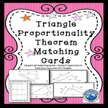 Triangle Proportionality Theorem Matching Card Set