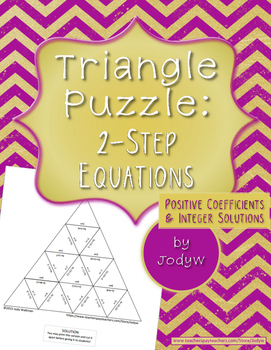 Triangle Puzzle - Two-Step Equations, Positive Coefficients, Integer Solutions
