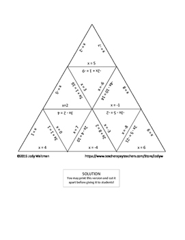 Triangle Puzzle - Two-Step Equations with Integer Solutions