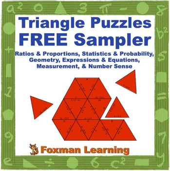 Triangle Puzzles for Middle School Math FREE Sampler--CCSS Common Core