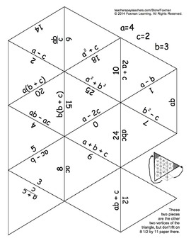 5 Triangle Puzzles for Middle School Math Expressions & Equations CCSS