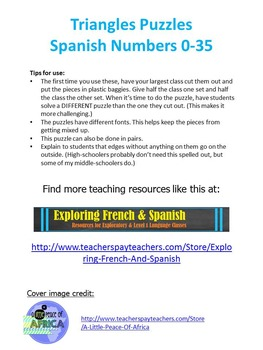 Triangle Puzzles - Spanish Numbers 0-35