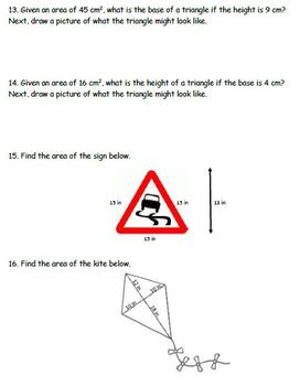 Triangle Review Worksheet (Classify, Missing Angles, Area)