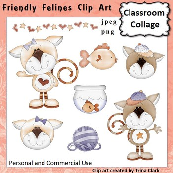 Friendly Felines Cat Clip Art Color personal & commercial use