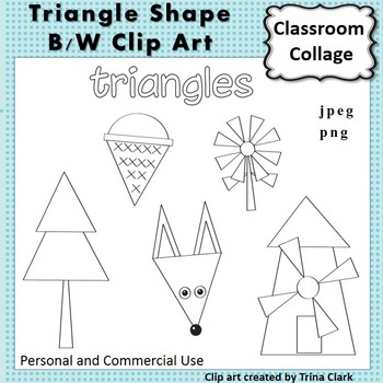 Triangle Shape Clip Art line drawings B/W personal & commercial use Geometry