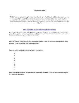 Triangle Shirt Waist Fire Introduction Webquest