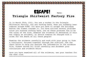 Triangle Shirtwaist Factory Escape Room
