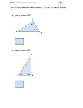 Triangle Side and Angle Relationships