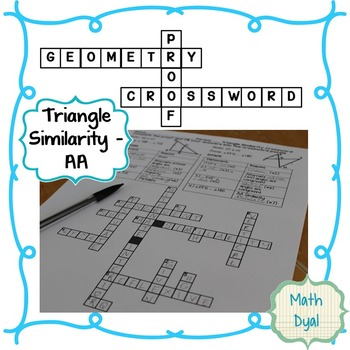 Triangle Similarity AA Geometry Proofs Crossword Puzzle