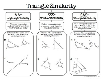 triangle similarity aa sss and sas graphic organizer tpt. Black Bedroom Furniture Sets. Home Design Ideas
