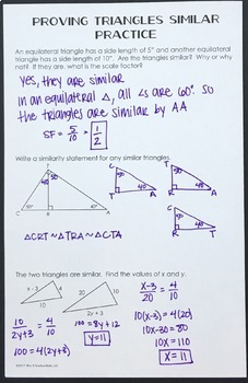 Triangle Similarity Foldable (AA, SAS, SSS)