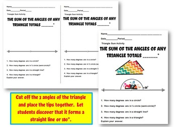 Triangle Sum Discovery Activity for Interactive Notebook