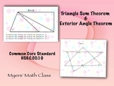Triangle Sum & Exterior Angle Theorem - Poster Project