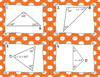 Triangle Sum Theorem Equations Task Cards