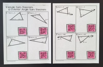 Triangle Sum Theorem & Exterior Angle Theorem (QR Practice)