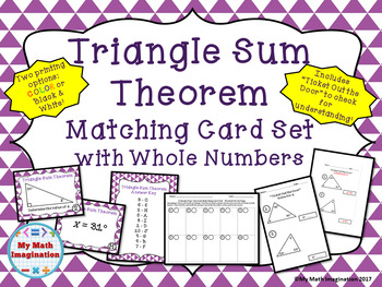 Triangle Sum Theorem Matching Card Set - Whole Numbers w/Ticket Out the Door