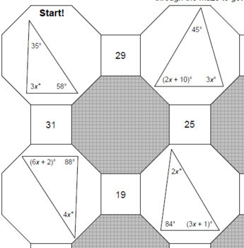 Triangle Sums - 3 MAZES varying in levels and 10 practice Exterior Angle Sums