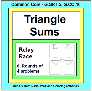 Triangle Sums  RELAY RACE GAME (Groups of 2 or 4)  8 round