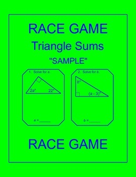 Triangle Sums - RELAY RACE GAME Sample (1 page)