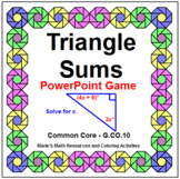 TRIANGLE SUMS:  POWERPOINT GAME - WIPE OUT OR REVIEW!