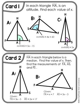 Altitude, Angle Bisector, Median, Congruency of Triangles Task Cards