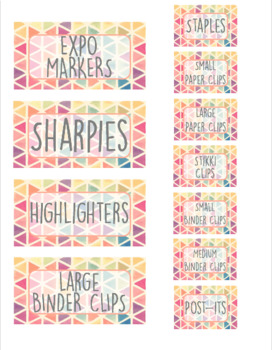 Triangle Teacher Toolbox Organizer Labels (editable)