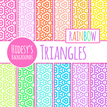 Triangle Themed Rainbow Backgrounds / Digital Papers / Patterns Clip Art