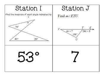 Triangle Theorems (Exterior Angle, Base Angle, & Triangle Sum) Carousel Activity