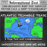 Triangle Trade and the American Slave Trade--Informational Text Worksheet