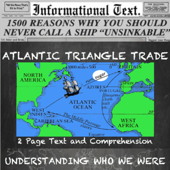 Triangle Trade And The American Slave Trade Informational Text Worksheet