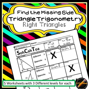 Triangle Trigonometry Worksheets: Find the Missing Side