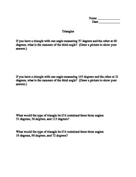 Triangle Word Problems