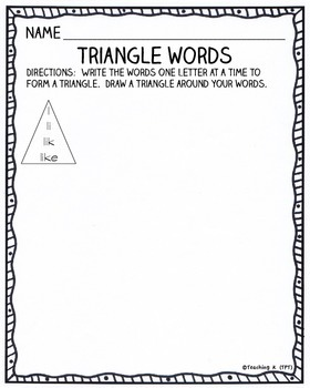 Triangle Words for Work Work, Literacy Centers, Daily 5