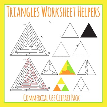 Triangle Worksheet Helpers Clip Art Set for Commercial Use