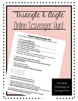 Triangle & Angle Scavenger Hunt Google Form and Handout