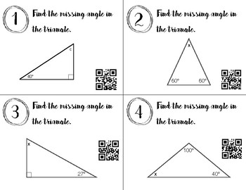 Triangle and Angle Task Cards (QR code)