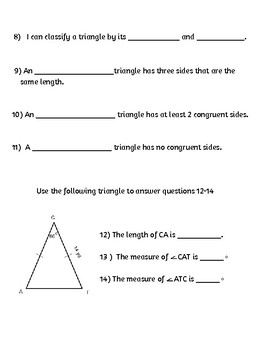 Triangle differentiated quizzes (angles, classifying)