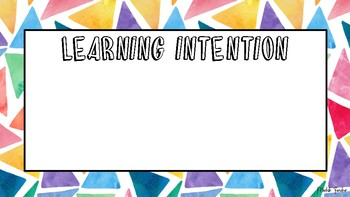 Triangle learning intention & success criteria template