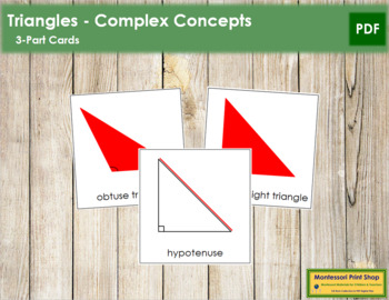 Triangles: 3-Part Cards (Complex Concepts) - Red