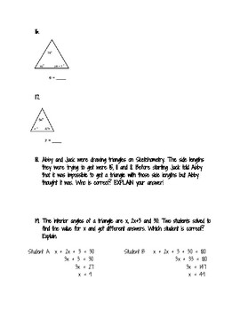 Triangles Angles and Side Lengths worksheet