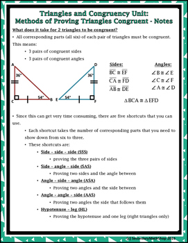 Triangles/Congruency #5 - 5 Methods of Proving Triangles Congruent Notes & Hmwk