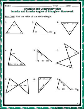 Triangles & Congruency Unit #2 - Interior and Exterior Angles Notes and Homework