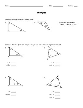 Triangles: Determining Missing Angles Worksheet