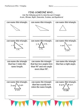 Triangles - Find Someone Who - Cooperative Learning - Math