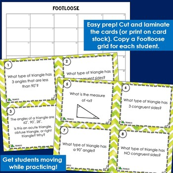 Types of Triangles Task Cards - Footloose Math Game