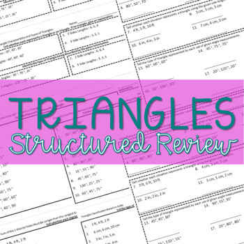 Triangles Formative Assessment Pack ~Aligned to CCSS 7.G.2