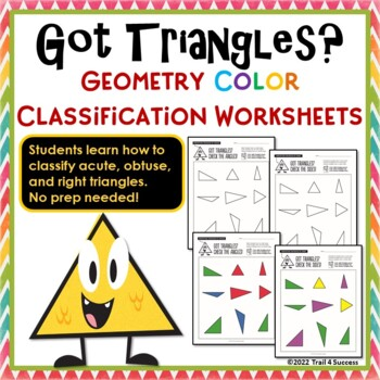 Triangles Geometry Color Classification Worksheets